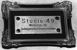 Studio 49 name plate from 1949